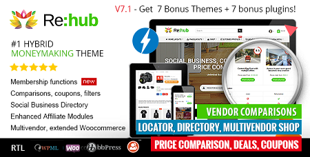 پوسته فروشگاهی و چندفروشندگی REHub ووکامرس نسخه 9.9.3