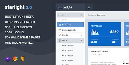 قالب مدیریت سایت Starlight با بوت استرپ 4