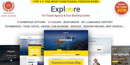 پوسته رزرو تور و آژانس مسافرتی EXPLOORE وردپرس نسخه 5.5